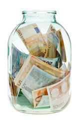 keeping euro money in glass jar