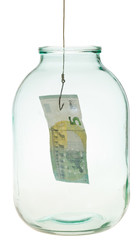 catching the last euro banknote from glass jar