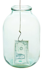 one dollar money and fishhook in glass jar