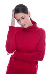 Junge Frau isoliert in rot: Migräne, Verzweiflung, Depression