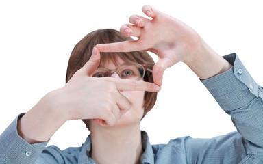look through fingers frame - hand gesture