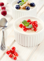 Panna cotta with currant
