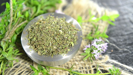 Rotating dried Winter Savory (loopable full HD video)