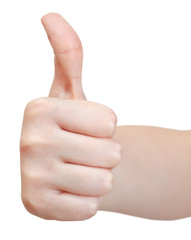 front view of thumb up - hand gesture