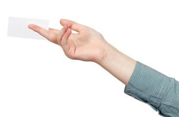 blank business card between fingers isolated