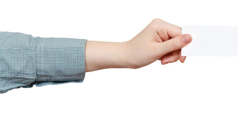 side view of blank business card in hand isolated
