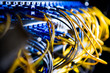 Leinwandbild Motiv Fiber-optic equipment in a data center