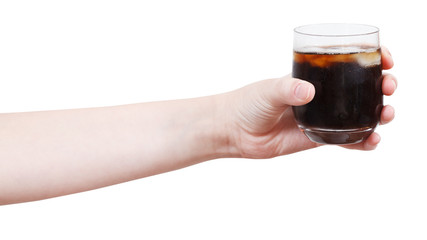 hand holds soft drink with ice in glass