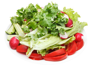 fresh season vegetables on plate isolated