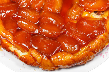 above view of apple pie Tatin on plate