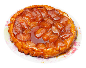 apple pie tart Tatin on plate isolated