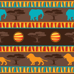Ethnic african abstract geometric seamless fabric pattern.