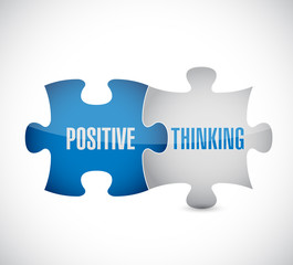 positive thinking puzzle pieces illustration