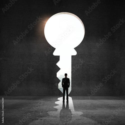 businessman looking an big key