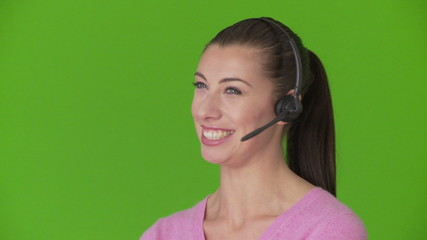 Portrait of woman telemarketer