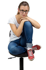 Thoughtful Teenager girl with glasses