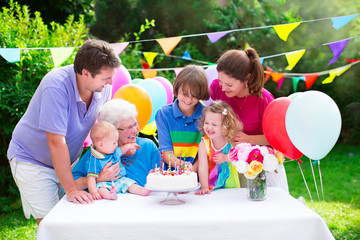 Happy family at a birthday party