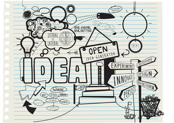 Creative concept for the theme of new ideas, hand drawn