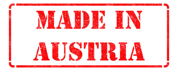 Made in Austria - Red Rubber Stamp.