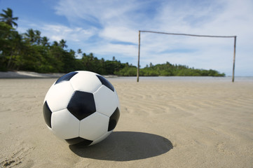 Soccer Ball on Brazilian Beach Football Pitch