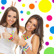 Two young women with fashionable colorful jewelry
