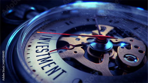 canvas print picture Investment on Pocket Watch Face. Time Concept.
