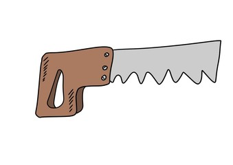 Doodle style carpenter's saw
