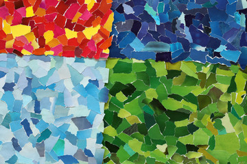 Colourful texture made from torn paper