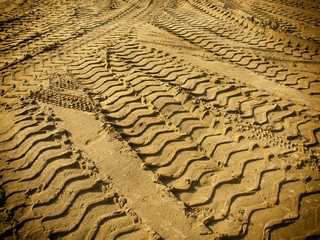 Tire tracks on the sand