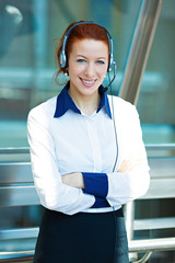 Closeup portrait happy customer service representative
