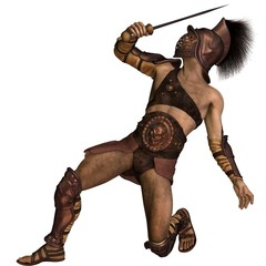 Roman Gladiator - Murmillo type in Defensive Pose