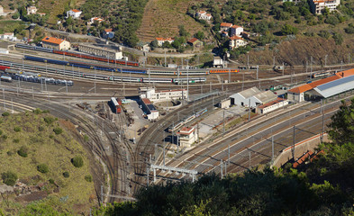 Aerial view of a train station in south of France