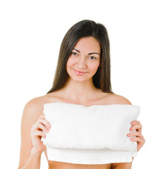 Woman with bath towel