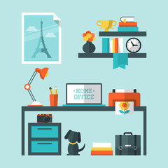 Flat icons for home office environment
