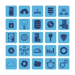 Monochrome Flat icons for Cloud Computing and Big Data