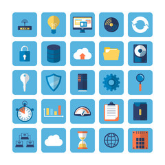 Flat icons for Cloud Computing and Big Data