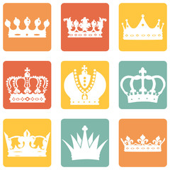 Vector Set of Royal Crown Icons
