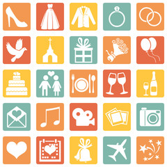 Vector Set of Color Wedding Icons