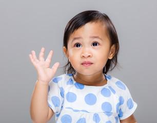 Baby girl hand up
