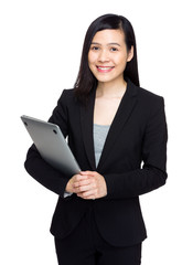 Asian businesswoman hold with notebook computer