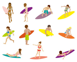 Surfing people sets,Isolated