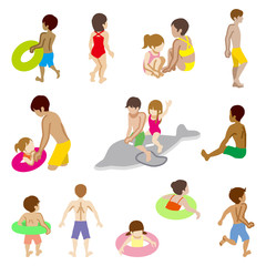 Swimwear kids sets, Isolated
