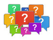 Colorful speech bubbles with question mark symbols