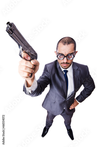 Funny man with gun isolated on white