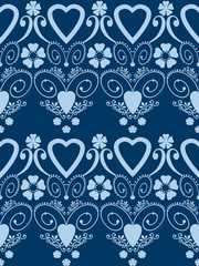 Retro hearts valentines day ornament seamless pattern background