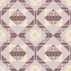 Patchwork seamless pattern background with decorative elements