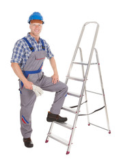 Confident Repairman With Ladder