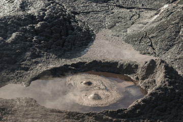bubbling mud pool in Rotorua, New Zealand