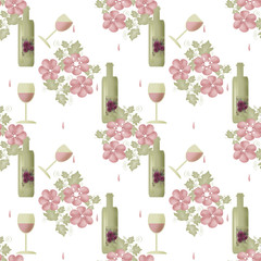 Seamless pattern with bottles of wine and glasses