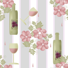 Seamless floral pattern with bottles of wine and glasses
